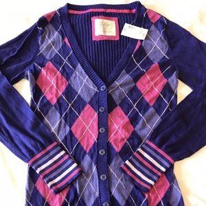 NWT Justice Cardigan Sweater Argyle Pattern Pink